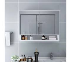vidaxl led bad spiegelschrank weiß 80x15x60 cm mdf