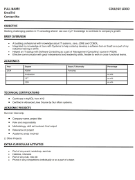 Resume Cv Format For IT Consulting Students