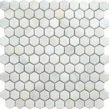 Oriental Marble Mosaic Tiles Blanco Hexagon Mosaics