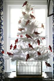 Love This Flocked White Christmas Tree With A Flock Of Red Cardinal Ornaments