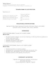 Resume Skills For Bank Teller Job Sample A With No Experience