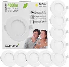 lumare led einbaustrahler 6w 230v ip44 ultra flach 9er set wohnzimmer badezimmer einbauleuchten weiss 26mm einbautiefe mini slim decken spot warmweiß