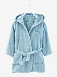 robe de chambre bébé 18 mois peignoir de bain à capuche bébé personnalisable bleu gris vertbaudet