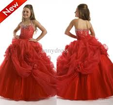 red ball gown beaded halter with handmade flowers organza flower