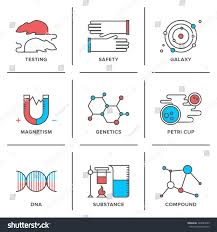 Flat Line Icons Set Science Research Stock Vector