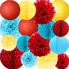 NICROLANDEE Circus Party Supplies Red And Blue Tissue Pom Poms Hanging Paper Lanterns Honeycomb Ball For Carnival Birthday Baby Shower Beach Pool