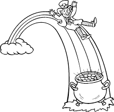 Leprechaun Pot Of Gold And Rainbow Coloring Pages