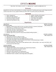 Server Resume Examples Lane Sample Experienced