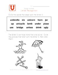 Worksheets Letter U Word For Preschool Opossumsoft Worksheets
