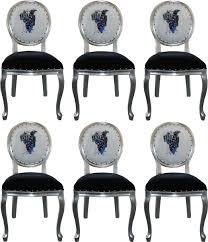 pompöös by casa padrino luxus barock esszimmerstühle schwarz weiß silber 50 x 60 x h 104 cm pompööse barock stühle designed by harald glööckler
