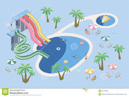 People In Aqua Park Relax At The Pool Swimming And Water Slides Beach Umbrellas Palm Trees Tables With Sun Loungers