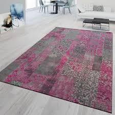 kurzflor teppich modern wohnzimmer patchwork muster