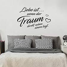 liebe ist wenn der traum direkt neben einem liegt schlafzimmer 80 cm x 112 cm wandtattoo schwarz