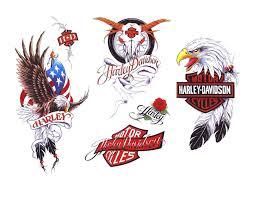 Wonderful Harley Davidson Logo Tattoos Set