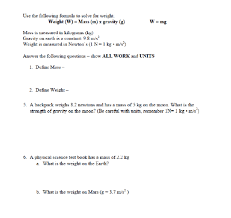 Use The Following Formula To Solve For Weight W Mass M
