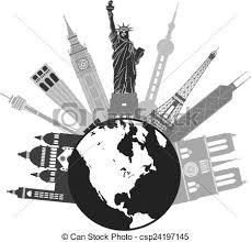 Globe For World Travel Grayscale Illustration