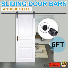 6/6.6/10/12FT Rustic Black Double Sliding Barn Door Hardware Wheel ... Door Design Tips Tricks Great Sliding Barn For Classic Home How To Make Hdware Amazing Glass Doors Remodelaholic 35 Diy Rolling Ideas Your Own Wood Track Diy Masonite 42 In X 84 Zbar Knotty Alder Interior Architectural Accents For The Best 25 Door Hdware Ideas On Pinterest Brushed Steel Kit With Arrow Rails Lowes