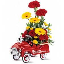 Fire Engine Bouquet Birthday Funeral Flower Arrangements In