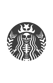 Black And White Starbucks Dark Transparent