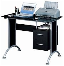 Tempered Glass Computer Desk by Narrow Computer Desk Features Black Tempered Glass Panel Powder