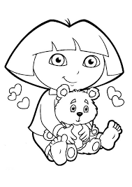 Dora The Explorer Sat Hugging A Teddy Bear Coloring Pages For Kids Printable