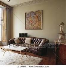 groß bild oben braun leder chesterfield sofa in