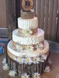 My First Wedding Cake Rustic Daisy Burlap