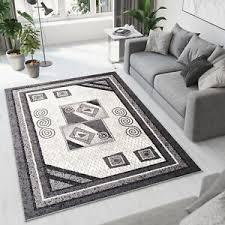 details zu teppich modern kurzflor geometrisch meliert griechisch bordüre wohnzimmer ökotex