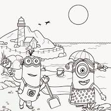 Minion Colouring Pages Online Minions Beach Tropical Sands For Kids Big Too