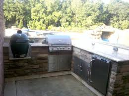 Image Of Top Big Green Egg Built Into Outdoor Kitchen