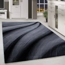 kurzflor design teppich schatten muster wohnzimmerteppich grau schwarz meliert