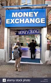 bureau change at a exchange bureau de change shop for foreign stock