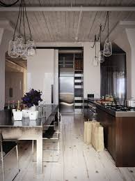 I Love The Play Of Wood Vs Metal In This Kitchen It Has A Very Industrial Feel From Table Light Fixtures And Chairs But Adding Hits On