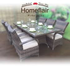 Homeflair Rattan Garden Furniture Florence Brown Rectangle Dining Table + 6  Chairs Set