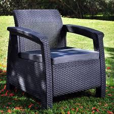 Keter Rattan Lounge Chairs by Keter Corfu Outdoor Armchair Grey Hayneedle