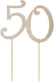 stobok kuchen topper strass 50 zahl kuchendeckel kuchendekoration für 50 jahrestag geburtstag goldene hochzeit zubehör golden