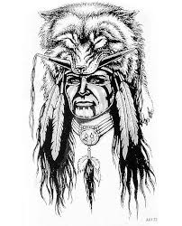 Body Art Temporary Tattoo Paper Indigenous Man Wear Bear Fur Hats Portrait Native Americans Sticker