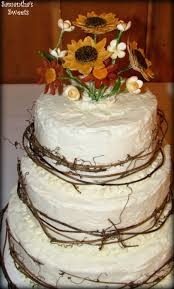 Rustic Wedding Cake With Sugar Flowers Twigs By Samanthas Sweets