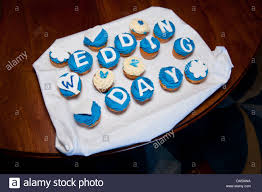 Blue Frosted Iced Wedding Cupcakes That Spell Out The Word Day With Love Heart And Butterfly Cake Toppers