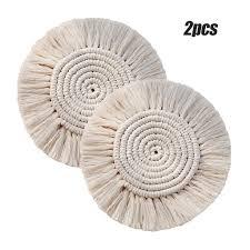 2 pcs boho style handmade makramee untersetzer aus baumwolle cremeweiß