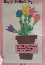 Great Mothers Day Craft Easy And Super Cute Green Paint Handprint Cut Out Construction Paper Flowers