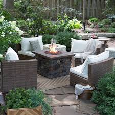 Semi Circle Outdoor Patio Furniture by Coral Coast Albena Fire Pit Chat Set Arranged In A Semi Circle