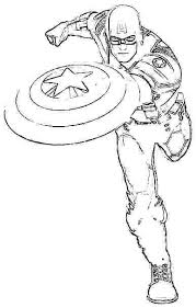 Captian America Coloring Pages Captain Best Kids Printable Standing Still Print Color L P Online Civil War Black Panther Co