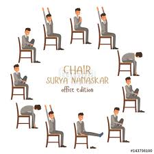 Round Vector Illustration Of Chair Sun Salutation Positions Businessman In Suit Doing Yoga At Work