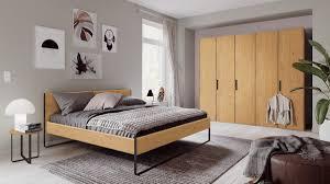 hülsta neo schlafzimmerkombination l in natureiche bestehend aus 5 trg kleiderschrank 1 bett und 2 rundkonsolen
