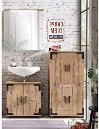 lomadox badmöbel set in silbereiche nb mit schwarzen