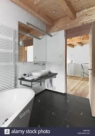 interieur aufnahmen einem modernen bad mit holzdecke im