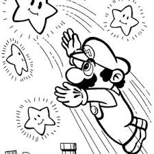 Super Mario Brothers Reach The Stars Coloring Page