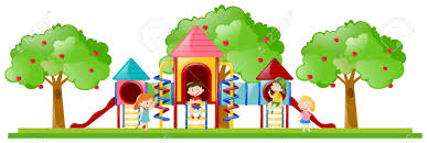 Play Date Playground Clipart Cute Seesay Swings Kids Slide