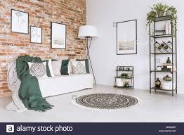 grüne decke auf weißen sofas und kissen in wohnzimmer mit
